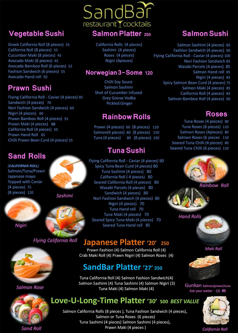 sandbar sushi menu